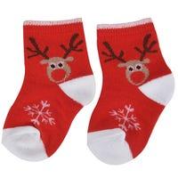 Babies Cotton Christmas Socks Red Reindeer Design 2 Pack
