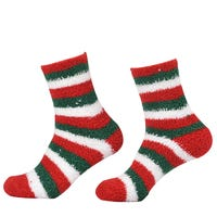 Unisex Terry Towel Socks Red, Green and White Stripe Design