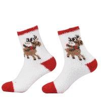 Unisex Terry Towel Socks White with Reindeer Design