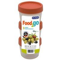 Edgo Food 2 Go 3 x Food Containers 250ml Orange