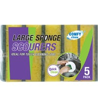Large Sponge Scourers Yellow 5 Pack