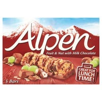Alpen Fruit And Nut Milk Chocolate Cereal Bars 5 Pack