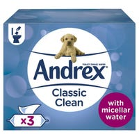 Andrex Classic Clean 40 Washlets 3 Pack