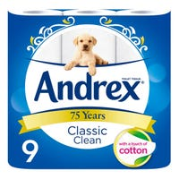 Andrex Classic Clean White Toilet Roll 9 Pack