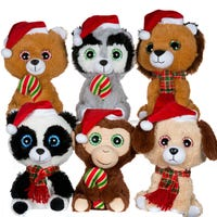 Cute Animal With Christmas Hat Soft Toy Assorted 24cm