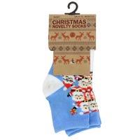 Babies Cotton Christmas Socks White and Blue Santa Design 2 Pack