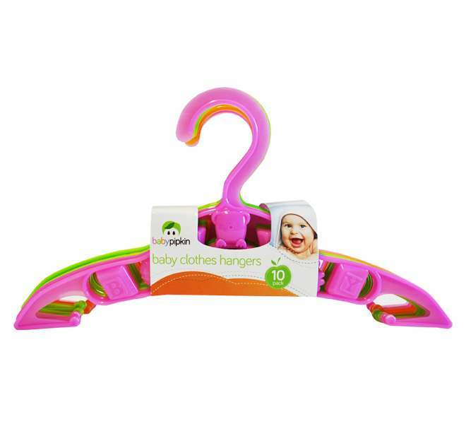Pack of 10 Baby Pipkin Baby Clothes Hangers - Pink