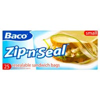 Baco Zip 'n' Seal Resealable Sandwich Bags 25 Pack