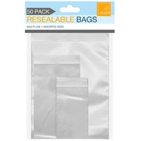 Resealable Bags Assorted Sizes 50 Pack