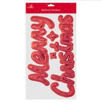 Merry Christmas Balloon Style Stickers in Red