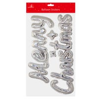 Merry Christmas Balloon Style Stickers in Silver