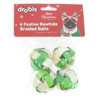 Drools Festive Rawhide Braided Balls 4 Pack