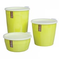 Pure Bamboo, Set of 3 high food containers with lid Lime