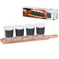 Beer Tasting Glasses and Wooden Tray