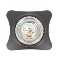 Dog Bowl on Plastic Stand Black