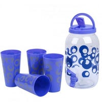 Drinks Dispenser And 4 Cups Blue