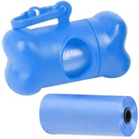 Dog Waste Bag with Bone Distributer Bags in Blue 15 Pack