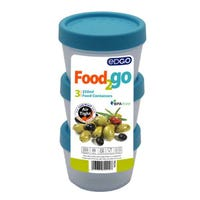 Edgo Food 2 Go 3 x Blue Food Containers