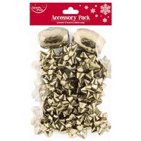 Christmas Bows and Ribbon Cops Gold 14 Pack