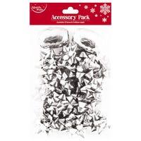 Christmas Bows and Ribbon Cops Silver 14 Pack