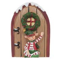 Mini Christmas Elf Door Collectable Brown Door Elf Sat Down