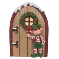 Mini Christmas Elf Door Collectable Brown Door Elf Stood Up