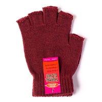 Ladies Thermal Fingerless Gloves Burgundy
