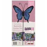 Butterfly Blue Purple Garden Stake Set