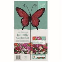 Butterfly Red And White Garden Stake Set