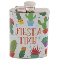 Stainless Steel Hip Flask 6oz Fiesta Time