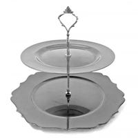 Cake Stand with 2 Tiers in Silver