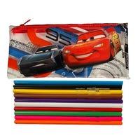 Disney Cars 3 Filled Transparent Pouch with 10 Colour Pencils