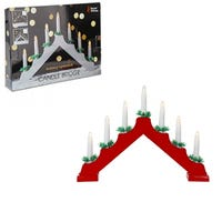 Christmas 7 LED Wood Candle Bridge Battery Operated - Red