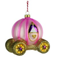 Christmas Bauble Enchanted Kingdom Princess Carriage Glass Decoration