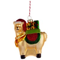 Christmas Bauble Llamapalooza with Gifts Glass Decoration