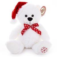 Christmas Plush Bear in White 35cm