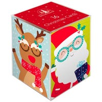 Christmas Cards with Novelty Glasses 16 Pack