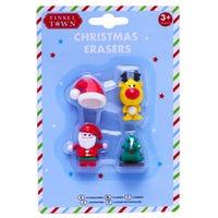 Christmas Novelty Shaped Erasers 4 Pack