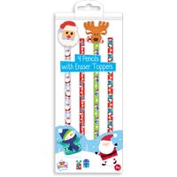 4 Festive Pencils With Eraser Tops