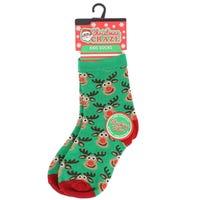 Kids Christmas Novelty Sock Reindeer Faces Size 9 - 12
