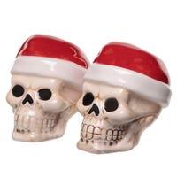 Jingle Bones Christmas Skull Ceramic Salt and Pepper Set