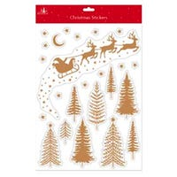 Christmas Window Stickers in Gold Santa and Sleigh Design