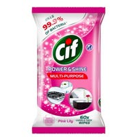 Cif Power And Shine Multi Purpose Wipes Pink Lily 60s