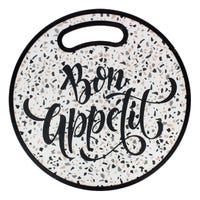 Round Cutting Board Bon Appetit Slogan