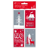 Adhesive Tags in Cosy Christmas Design 20 Pack