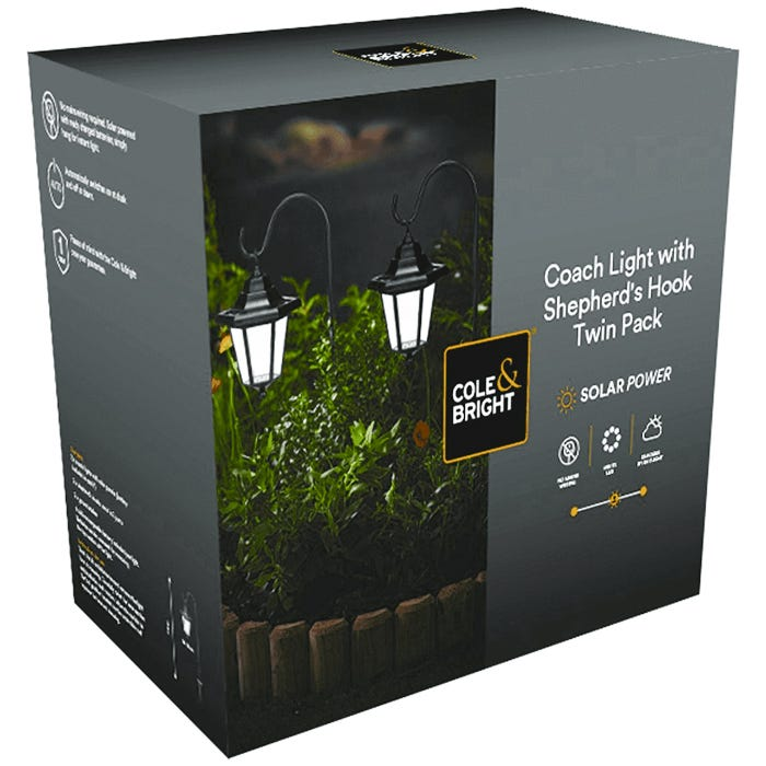 L21016D Solar Coach Light With Hook Twin Pack Cole and Bright