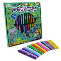 Neon Coloured Markers 20 Pack