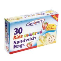 Sandwich Bags Kids Coloured 30 Pack