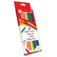 Colouring Pencils and Grippers 8 Pack