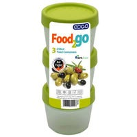 Edgo Food 2 Go 3 x Green Food Containers 250ml